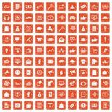 apelsin för grunge för 100 digitala marknadsföringssymboler fastställd Fotografering för Bildbyråer