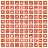 apelsin för grunge för 100 diskussionssymboler fastställd Fotografering för Bildbyråer