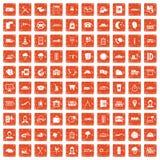 apelsin för grunge för 100 dispatchersymboler fastställd Arkivfoton