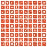 apelsin för grunge för 100 doktorssymboler fastställd Arkivfoton