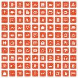 apelsin för grunge för 100 familjsymboler fastställd Fotografering för Bildbyråer