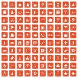 apelsin för grunge för 100 familjtraditionssymboler fastställd Arkivfoto