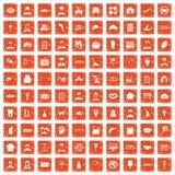 apelsin för grunge för 100 favorit- arbetssymboler fastställd Arkivbild