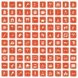 apelsin för grunge för 100 feriefamiljsymboler fastställd royaltyfri illustrationer