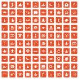 apelsin för grunge för 100 feriesymboler fastställd vektor illustrationer