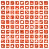 apelsin för grunge för 100 filantropisymboler fastställd stock illustrationer