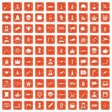 apelsin för grunge för 100 filmsymboler fastställd Fotografering för Bildbyråer