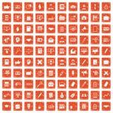 apelsin för grunge för 100 finanssymboler fastställd Royaltyfria Bilder