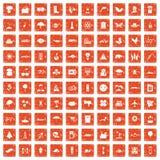 apelsin för grunge för 100 global uppvärmningsymboler fastställd Royaltyfri Bild