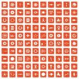 apelsin för grunge för 100 grafiska beståndsdelsymboler fastställd Arkivfoto