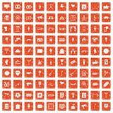 apelsin för grunge för 100 händelsesymboler fastställd Arkivfoto