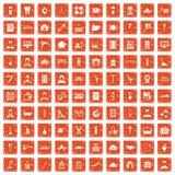 apelsin för grunge för 100 hantverksymboler fastställd Royaltyfria Bilder
