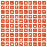 apelsin för grunge för 100 hjältesymboler fastställd Arkivfoto