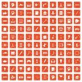 apelsin för grunge för 100 idérika idésymboler fastställd Royaltyfria Bilder