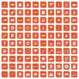 apelsin för grunge för 100 idérika marknadsföringssymboler fastställd Arkivfoto