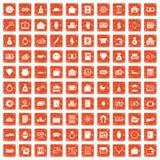 apelsin för grunge för 100 insättningsymboler fastställd Royaltyfria Bilder
