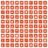 apelsin för grunge för 100 katastrofsymboler fastställd Royaltyfri Bild