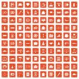 apelsin för grunge för 100 krediteringssymboler fastställd Arkivbild