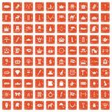 apelsin för grunge för 100 kronasymboler fastställd Royaltyfri Foto