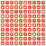 apelsin för grunge för 100 läckra disksymboler fastställd Arkivfoto