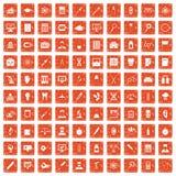 apelsin för grunge för 100 labbsymboler fastställd Royaltyfri Fotografi