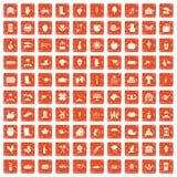 apelsin för grunge för 100 lantgårdsymboler fastställd Arkivbild