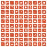 apelsin för grunge för 100 lantgårdsymboler fastställd Arkivfoto