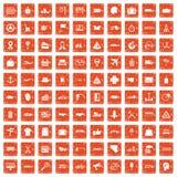 apelsin för grunge för 100 leveranssymboler fastställd Arkivbilder