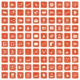 apelsin för grunge för 100 on-line seminariumsymboler fastställd Royaltyfria Foton