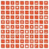 apelsin för grunge för 100 medicinska tillbehörsymboler fastställd Fotografering för Bildbyråer