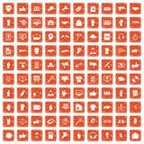 apelsin för grunge för 100 olika gestsymboler fastställd Arkivfoton