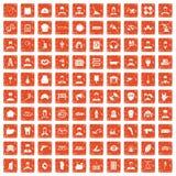 apelsin för grunge för 100 olika yrkesymboler fastställd Royaltyfri Bild