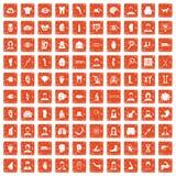 apelsin för grunge för 100 organsymboler fastställd Arkivbilder