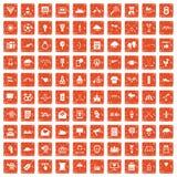 apelsin för grunge för 100 pilsymboler fastställd Fotografering för Bildbyråer
