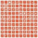 apelsin för grunge för 100 rörelsehindrade sjukvårdsymboler fastställd Arkivbild