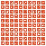 apelsin för grunge för 100 rekreationsymboler fastställd Royaltyfria Foton