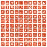 100 apelsin för grunge för rengöringsduk- och mobilsymboler fastställda vektor illustrationer