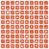 apelsin för grunge för 100 rengöringsdukutvecklingssymboler fastställd vektor illustrationer