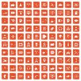 apelsin för grunge för 100 servicesymboler fastställd Royaltyfria Foton