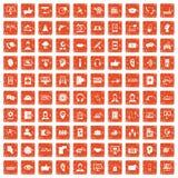 apelsin för grunge för 100 symboler för appellmitt fastställd Arkivfoto