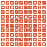 apelsin för grunge för 100 symboler för brottslig förseelse fastställd Royaltyfri Fotografi
