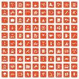 apelsin för grunge för 100 symboler för lagbyggnad fastställd stock illustrationer