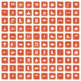 apelsin för grunge för 100 symboler för landshus fastställd Arkivbilder
