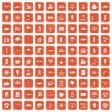 apelsin för grunge för 100 symboler för sol- energi fastställd stock illustrationer