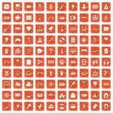 apelsin för grunge för 100 underhållningsymboler fastställd Arkivfoton
