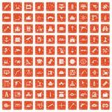 apelsin för grunge för 100 utrustningsymboler fastställd Arkivfoton