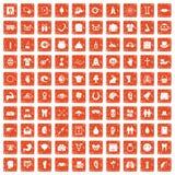 apelsin för grunge för 100 vårferiesymboler fastställd stock illustrationer
