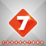 Apelsin för nummervektoruppsättning - plan design Arkivbilder