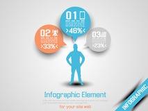 Apelsin för optio tre för affärsman infographic Fotografering för Bildbyråer