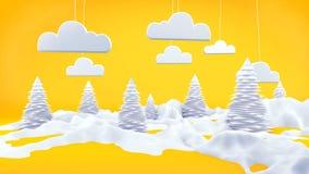 Apelsin för plats för vinterlandskap 3D Arkivbilder